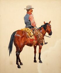 1900 S.W. US Gouache Painting Lone Rider by Fernand Lungren (1857-1932)(Jwo)