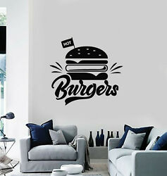 Vinyl Wall Decal Hot Burgers Fast Food Restaurant Kitchen Decor Stickers g865 $28.99