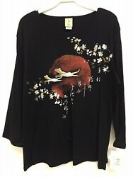 Jess and Jane Thousand Miles Black Floral Asian 34 Sleeve Shirt Size New w Tags