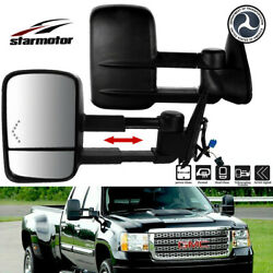 Tow Mirrors Power Heated Red Signal Black Pair Set for 2003-2006 Chevy Silverado
