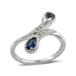 Created Blue Sapphire Diamond Statement Ring Silver for Women Size 7 Cttw 0.4