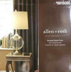 Allen Roth LENIHAN Table Lamp Glass Brushed Nickel Finish $44.95