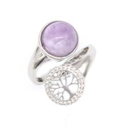 Natural Crystal Round Cabochon Beads Tree Of Life Adjustable Stone Finger Rings