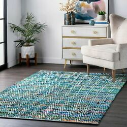 nuLOOM Contemporary Hand Woven Chevron Rochell Area Rug in Green $49.99