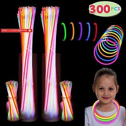 """300 Pack Glow Sticks With 100 22"""" Necklaces + 200 8"""" Bracelets; Connector In"""
