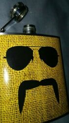 Moustache Glasses  - Liquid Courage Flasks - 180ml Stainless Steel Flask