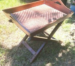 Large Vintage Rattan Butler's Folding Serving Table  w removable tray 21