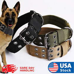 Tactical heavy duty Nylon large Dog Collar collar K9 Military with Metal  $12.58