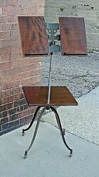Victorian Antique Parlor Library Holy Bible Dictionary Wood & Iron Stand