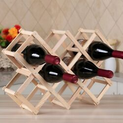 Folding Wooden Wine Rack Free Standing  Wall Wood Holder Home Kitchen Bar