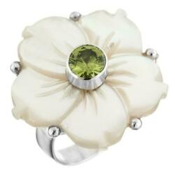 PERIDOT MOTHER OF PEARL SHELL FLOWER 925 STERLING SILVER ADJUSTABLE ring