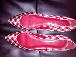 Charles and Keith Coolest Shoes Ever! Red n White Checkered. Size 41