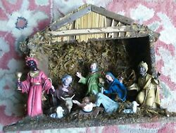 Vintage  Small Wooden NATIVITY SET creche 9 Piece HAND PAINTED ITALY