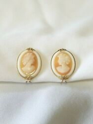 Gorgeous pair of unsigned gold tone glass cameo slip on earrings!