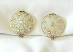 Gorgeous pair of unsigned gold tone iridescent glass slip on earrings!