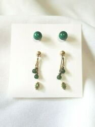 Gorgeous 3 pairs of gold tone post back earrings with a green theme!