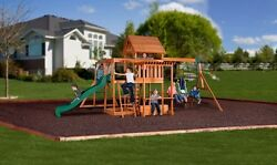 Backyard Swing Set Monticello Cedar Wooden Outdoor Playground Playset Kids