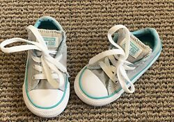 Converse All Star Boys Girls Low Top Shoes Size 7 Gray Teal 754886F New $21.99