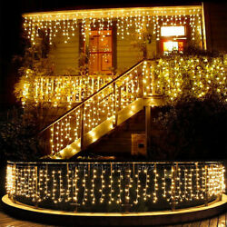 13-130FT LED Fairy Icicle Curtain Lights Party Indoor Outdoor Xmas Decoration