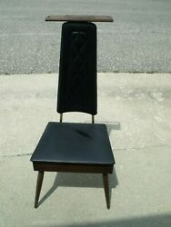 Vintage Retro Mid Century Valet Butler Dressing Chair w Seat Storage Coin Tray