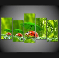 Ladybug Walking with Umbrella 5 Pcs Canvas Wall Room Home Decorating Poster