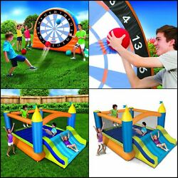 Inflatable Bounce House Dartboard Slide Bouncer wBlower Yard Outdoor Playground