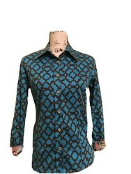 Women's Tizzie Size Small Button Down Shirt Blouse Top Turquoise Blue Brown