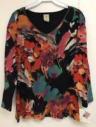 Jess and Jane Love Song Shirt Multicolor Floral Print Size Flowers New with Tags