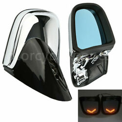 Pair Anti Glare LED Turn Signal Rearview Mirrors For BMW K1200 LT K1200M 1999-08