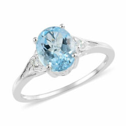 Statement Ring 925 Sterling Silver Oval Sky Blue Topaz Jewelry for Women Ct 2.9