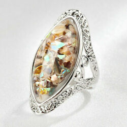 925 Sterling Silver Mother of Pearl Abalone Sea Shell Chips Fashion Ring Size: 9