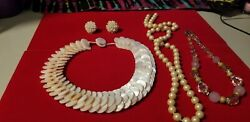 Vintage jewelry lot gorgeous light pink mop pink rhinestone faux pearl