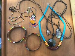 Vintage Native American Beaded Lot And Stones Gorgeous