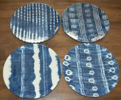 Pottery Barn Shibori Melamine Salad Plates Mixed Set of 4 NEW! Navy Blue White $19.99