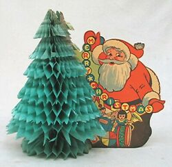 Vintage Paper Christmas X Mas Santa Clause with Crepe Paper Tree $25.99