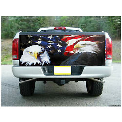 American Flag Eagle A Truck Rear Tailgate Wrap Vinyl Graphic Decal Sticker ❤ ❤