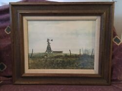 Vintage E.L. Butler Original Watercolor Painting Windmill Texas Artist