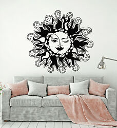 Vinyl Wall Decal Crescent Moon Face Sun Day Night Bedroom Stickers g1126 $19.99