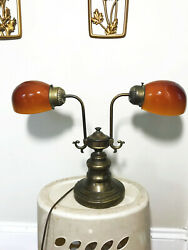 Rare Vintage Antique Brass Double Lamp w Amber Butterscotch Glass Shades $129.95
