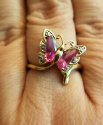 10K SOLID GOLD LAB CREATED PINK SAPPHIRE BUTTERFLY RING WITH NATURAL DIAMONDS