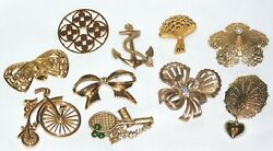 Vintage & Modern Gold Tone Costume Jewelry Brooch Lot
