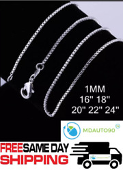925 Sterling Silver Box Chain Necklace .925 All Sizes 16