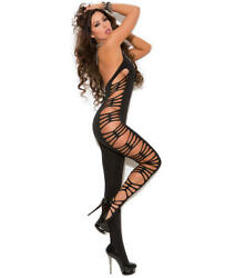 Elegant Moments Deep V Crotchless Bodystocking Lingerie - Women's #8914