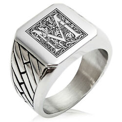 Stainless Steel Mens Royal Box Monogram Initial Large Square Biker Signet Ring $15.00