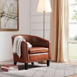 Contemporary Upholstered Arm Barrel Tub Club Accent Chair Furniture Brown $135.99