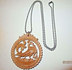 VTG Carved Wood Chinese Oriental Zodiac Dragon Chicken Estate Pendant Necklace