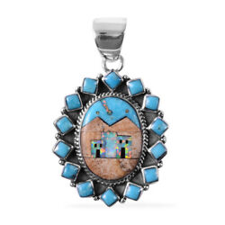 925 Sterling Silver Picture Jasper Turquoise Pendant Southwest Jewelry Ct 6