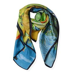 Green Yellow Van Gogh Oil Painting Scarves Neck Head Scarf 100% Mulberry Silk $22.99