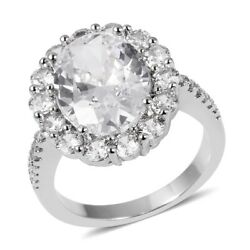 Oval White Cubic Zirconia CZ Ring Gift Jewelry for Women Size 8 Ct 8.5