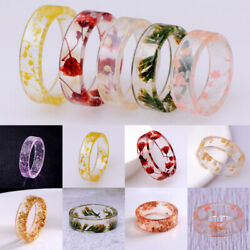 Fashion Dried Flower Transparent Resin Rings DIY Women Party Wedding Ring Gifts